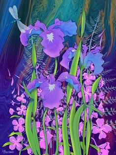 Iris And Fireweed Painting by Teresa Ascone