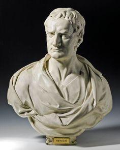 ROUBILLAC - Newton (NC  : buste anglais, débuts du néoclassicisme en sculpture -> vecteur de représentation privilégié. Règle : cheveux courts, yeux blancs,ou légèrement incisés, draperie. En France, pas de bustes NC avant le 3e quart du 18e. Exception Bouchardon : bustes d'anglais faisant le Grand Tour, quand est à Rome)