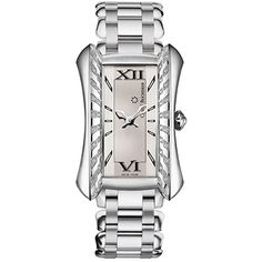 This Carl F. Bucherer Alacria Diva watch has a feminine silver dial with Roman hour markers. Crafted in stainless steel, this Alacria Diva has a unique 31.3 x 45mm rectangular-shaped case with a diamond-set bezel and is shown on a steel link bracelet.  The Carl F. Bucherer Alacria Diva watch is powered by a quartz movement and is water resistant to 30 meters. 7,900.00 USD