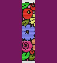 Bunch of Flowers Bracelet Bead Pattern Loom and by TheBeadedCat, $6.00