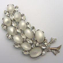 Coro Sterling Silver Moonglow Rhinestone Pin Brooch