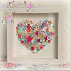 Cath Kidston inspired framed button heart by MarzipanCrafts, £38.00