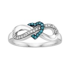 Littman Jewelers | 1/6 ct. tw. Blue and White Diamond Infinity Ring