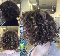 Curly hair balayage highlight on lob short bob. Natural curls with blonde at Cielo salon in Downtown Medford Oregon by Morgan Oreeda. Defined Curls using Bumble and Bumble, Diffuser, Balayage Highlight Blonde, and Drip Dry Method for Hair Styling