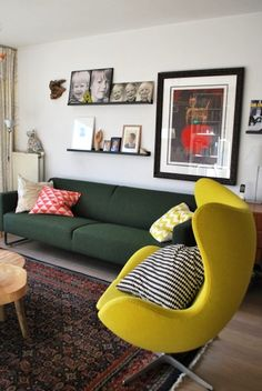 See the whole Living With Kids Home Tour featuring Susanne van der Lee. Living Room Designs, Living Rooms, Living Spaces, Up House, Kids House, Colorful Couch, Inspiration Design, Inspired Homes, Style At Home