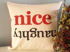 Holiday Pillow: Tell Santa! Hand stamped $44