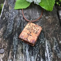 """Wooden Book Pendant """"King Arthur"""" - wooden pendant for book lovers with pyrography - wooden necklace, mini book necklace, wooden pendant"""