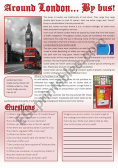 A reading comprehension about London buses of these days plus writing. Have a great week! Teaching English Grammar, English Grammar Worksheets, English Vocabulary Words, Grammar Lessons, English Lessons, Learn English, English Antonyms, Reading Comprehension For Kids, Printable Alphabet Letters