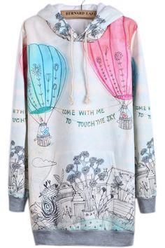 Beige Hooded Long Sleeve Balloon Print Sweatshirt - Sheinside.com