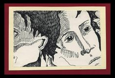 Untitled - Pen Drawing: faces, heads, portraits