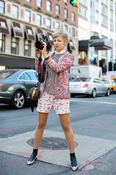 So cute and fun. This is what I would want to do if I wore prints. (Love the hair, too) Lina, New York via The Sartorialist