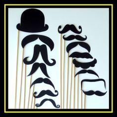 Mustache Hat On a Stick - 30 Piece Set - Photo Booth - Party - Wedding - Birthday - Graduation @Annaliza Borba