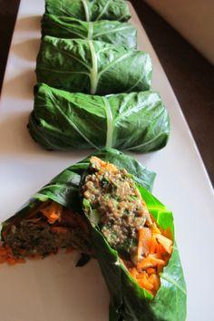 Raw Collard wraps with raw mushroom pate