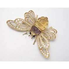 18K GOLD, COLORED STONE AND DIAMOND INSECT BROOCH, TALLARICO - Sotheby's