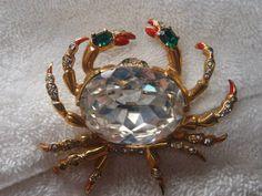RARE Vintage Antique Eisenburg Original White Rhinestone Gold Crab Brooch Pin | eBay