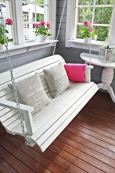 Great porch swing.  Depending on the color of the house, this will be painted a fun, complimenting color.