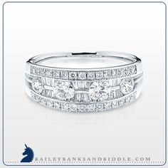 Round and baguette #diamond #ring in 14k white #gold (1 1/4 c.t.w.)