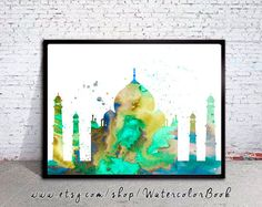 """Taj Mahal India Watercolor Print, City Skyline, Art Print, watercolor print, watercolor poster, map poster, City watercolor, City art  Buy two Get one FREE! Special offer! Buy two print and get one free(of the same size). Send me the links of the 3 posters that you have chosen in the """"notes to seller"""" section You will receive the three prints that you have selected for the price of 2.   Here you will find archival art prints of my original watercolor digital illustrations  Printed especially…"""