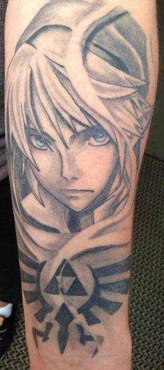 Beautiful Zelda tattoo. Link and Hylian Crest