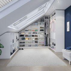 Dressing room dream under roof slopes Loft Storage, Wooden House, Modern House Design, Pallet Furniture, Dressing Room, My Room, My Dream Home, Interior Design, Home Decor