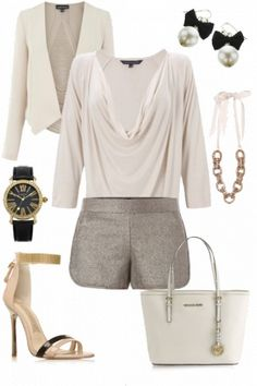city chic #outfit - love the metallic shorts and michael kors bag :)