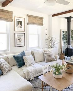 Home Living Room, Apartment Living, Living Room Designs, Living Room Furniture, Living Room With Beige Couch, Living Room Neutral, Living Room Artwork, Bright Living Room Decor, Blue And White Living Room