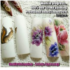 My entry to Professional Beauty London in progress... The whole design were painted using One Stroke technique. Even the tiny and super cute squirrel as well. O N E S T R O K E c o u r s e s in London E1 with a multi award winner one stroke nail artist. Professional Beauty 2016 One Stroke 1st place Nailympia London 2015 Reality (used one stroke technique) 1st place Scratch Stars Awards 2015 Finalist in One Stroke category Professional Beauty 2015 One Stroke 2nd place Nails NTNA Top 12…