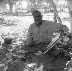 his portrait of Albert Namatjira while painting was taken by Frank Johnston. Source: National Library of Australia Aboriginal History, Aboriginal Artwork, Aboriginal Culture, Aboriginal Artists, Aboriginal People, Aboriginal Education, Indigenous Australian Art, Australian Artists, Australian Painting