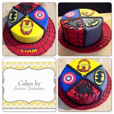 Lemon cake, lemon buttercream covered on fondant with hand cut superhero decorations.  Batman, captain America, Spider-Man and iron man.
