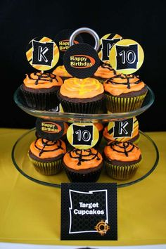 Cupcakes at a Nerf birthday party! See more party ideas at CatchMyParty.com!