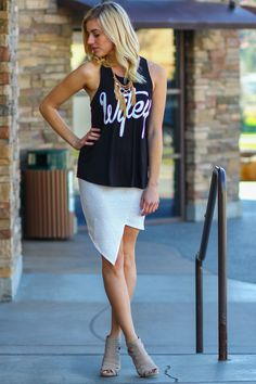 NanaMacs Boutique -Wifey Jersey Tank Top (Black). Super cute with this skirt. Just made this a sassy classy tank.