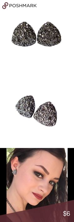 Gunmetal Gray Faux Druzy Earrings Handmade earrings with gunmetal gray faux druzy charms.  *** Please Read! ***  >>>> All Earrings are 3 for $12 <<<<  Please comment with your choices so I can create a bundle for you.  Add to bundle will not calculate the correct amount. ************************************************ Handmade Jewelry Earrings