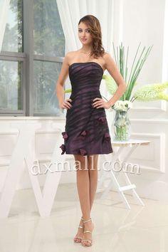 Empire Wedding Guest Dresses Strapless Short/Mini Taffeta Grape 130010300034