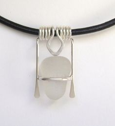 Sea Glass Jewelry  Sterling White Sea Glass by SignetureLine,