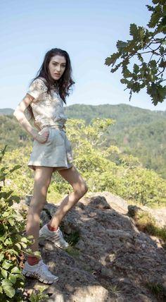 b35af3b584cd Beautiful Slovenian Fashion Blogger Veronika Lipar of Brunette from Wall  wearing beige linen shorts