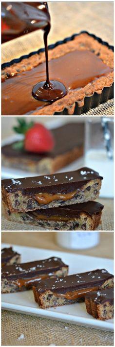 CHOCOLATE GLAZED, SALTED CARAMEL & CHOCOLATE CHIP COOKIE TART