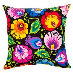 Black Lowicz Polish Folk Art Accent Pillow