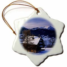 3dRose orn_82657_1 Farm house Mt Rigi and Pilatus Zug Switzerland EU29 RNU0038 Rolf Nussbaumer Snowflake Porcelain Ornament 3Inch *** This is an Amazon Affiliate link. Read more reviews of the product by visiting the link on the image.