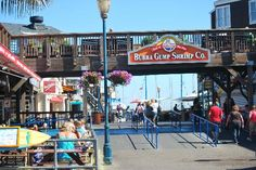 There is a Bubba Gump Shrimp Co. that located on San Francisco's Pier 39 with spectacular views of the Bay Bridge, Alcatraz, and even the occasional sea plane. Huge windows provide a great view while the family enjoys our delicious seafood and friendly service.