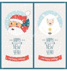Happy new year card vector by Tatishdesign on VectorStock®