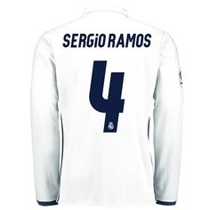 Real Madrid Home Jersey 2016/17 - Long sleeve - with Sergio Ramos 4 pr: The Real Madrid Home Shirt 2016-17… #RealMadridShop #RealMadridStore