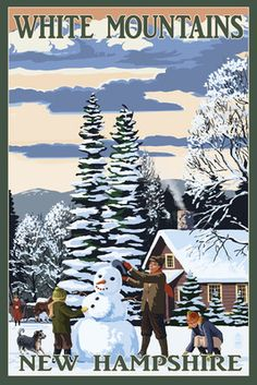 White Mountains, New Hampshire - Snowman & Cabin - Lantern Press Poster
