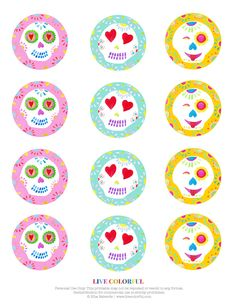 Free Printable: Day of the Dead Sugar Skulls Cupcake Toppers