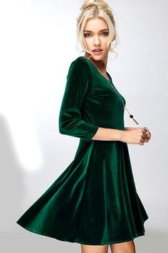 Winter formal dress done right with the Lucky Duck Lap of Luxury Emerald Long Sleeve Velvet Dress