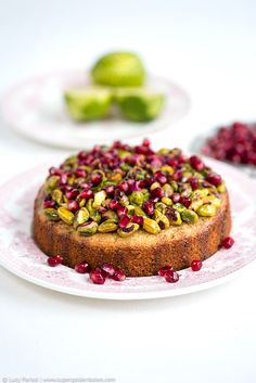 Pistachio and Lime Cake with Pomegranate and a Giveaway supergolden bakes