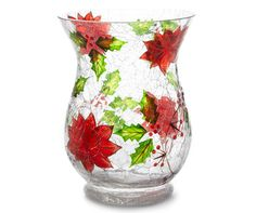 Large Poinsettia Crackle Glass Hurricane Candle Holder at Big Lots.