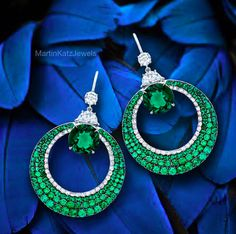 diamonds emerald earrings MartinKatzJewel
