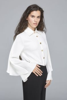 Blusa Greta Bell Sleeves, Bell Sleeve Top, Ruffle Blouse, Tops, Women, Fashion, Blouse, Colors, Moda