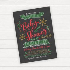 Christmas Baby Shower Invitation Christmas Baby Shower