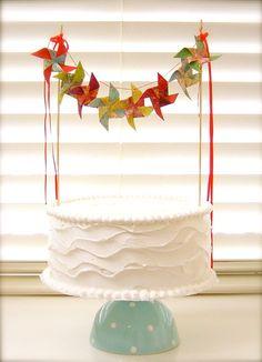 paper pinwheel cake bunting